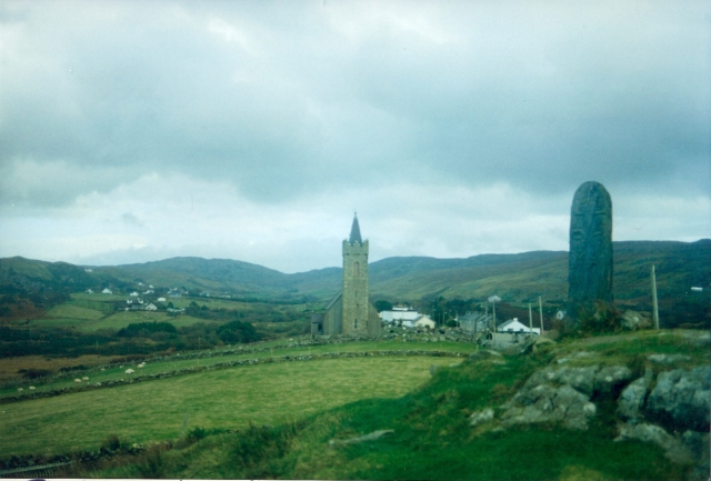 Glencolumbkille chapel and standing stone